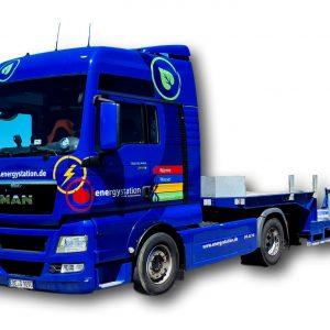 Tiefladertransporte mit Sattelzug
